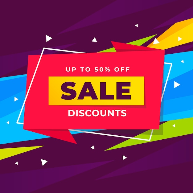 Abstract sale discounts promotion banner Free Vector