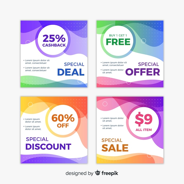 Abstract sale instagram collection Free Vector
