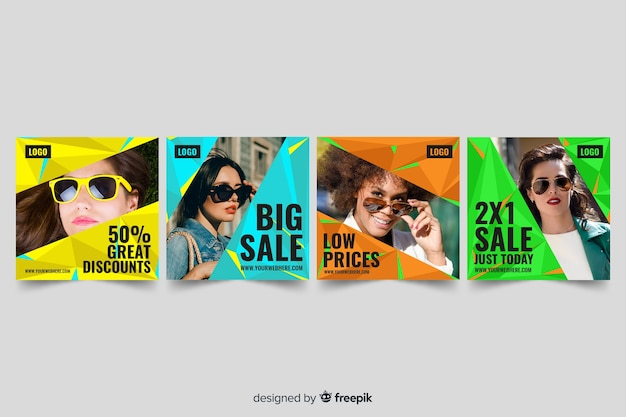 Abstract sale instagram post collection with photo Free Vector