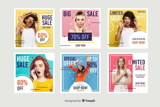 Аннотация продажа instagram пост коллекция с фото Бесплатные векторы