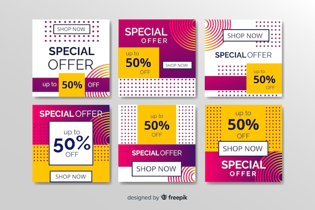 Abstract sale instagram post collection Vector | Free Download