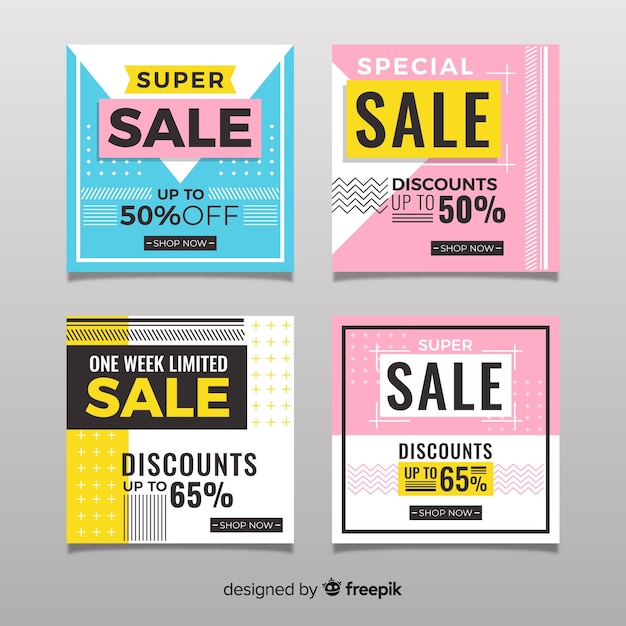Abstract sale instagram post collection Free Vector