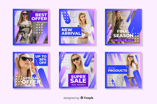 Abstract sale instagram post set with image Free Vector