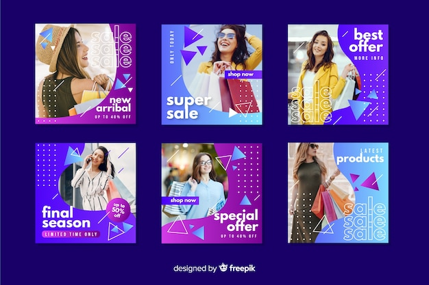 Abstract sale instagram post set with photo Free Vector