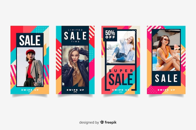 Abstract sale instagram stories with photo Free Vector