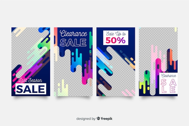 Abstract sale instagram stories Free Vector