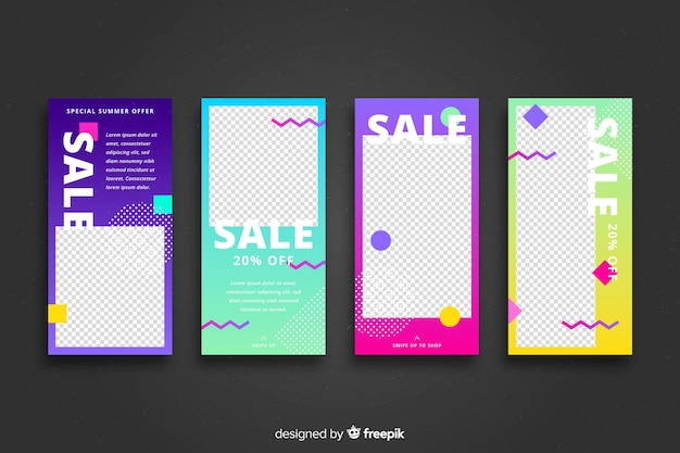 Abstract sale instagram story collection Free Vector