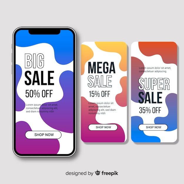 Abstract sale instagram story collection Vector | Free Download
