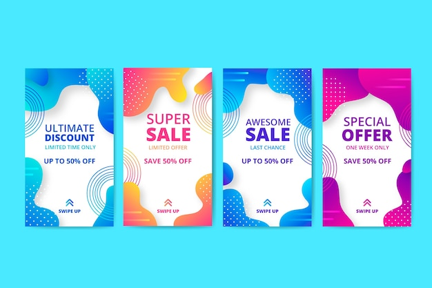 Abstract sale instagram story pack Free Vector