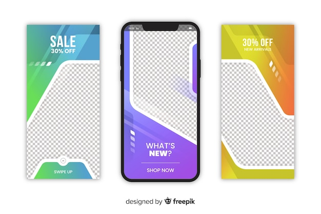 Abstract sale instagram story with discount Free Vector