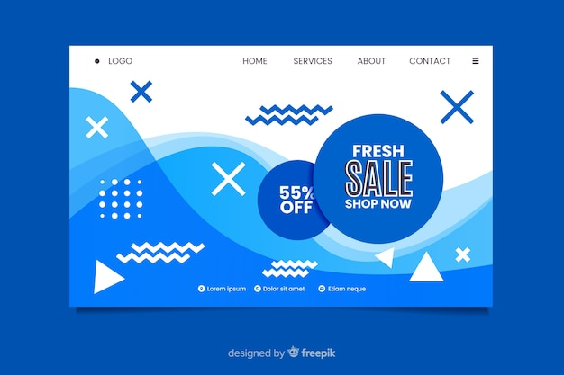 Abstract sale landing page template Free Vector