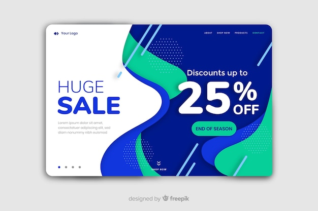 Abstract sale landing page with 25% off Free Vector