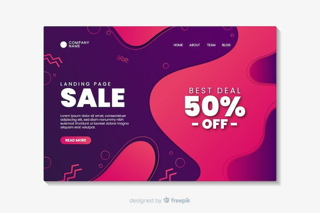 Abstract sale landing page Free Vector