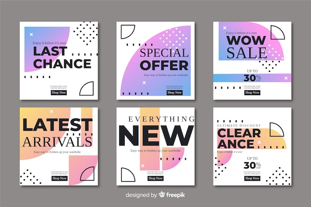 Abstract sale promotion banners collection Free Vector