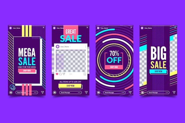 Abstract sale stories collection Free Vector