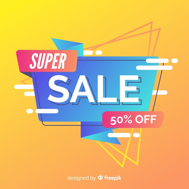 Abstract sales background flat design Free Vector