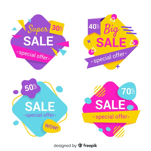 Abstract sales banner template collection Free Vector