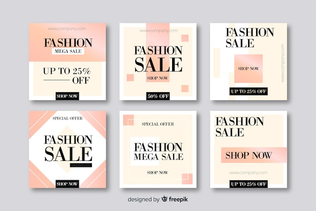 Abstract sales banners for social media Free Vector