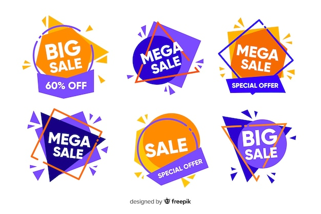 Abstract sales banners template collection Free Vector