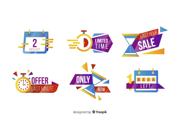 Abstract sales countdown banner collection Free Vector