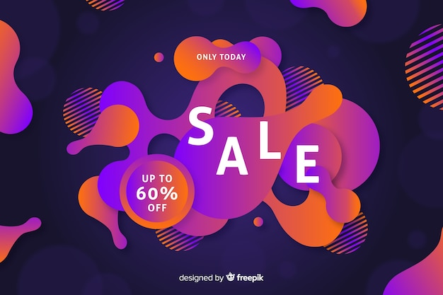 Abstract sales fluid effect background Free Vector