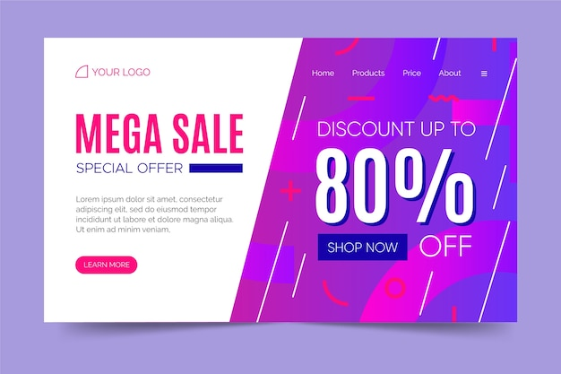 Abstract sales landing page memphis style Free Vector
