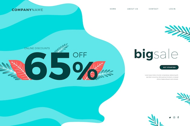 Abstract sales landing page template Free Vector