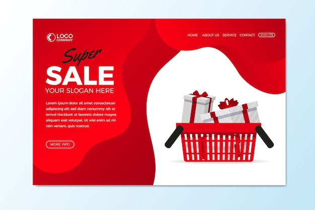 Abstract sales landing page with gifts Free Vector