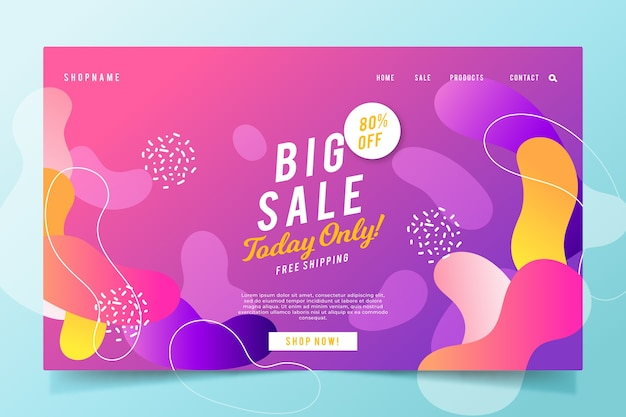 Abstract sales landing page with gradient Free Vector