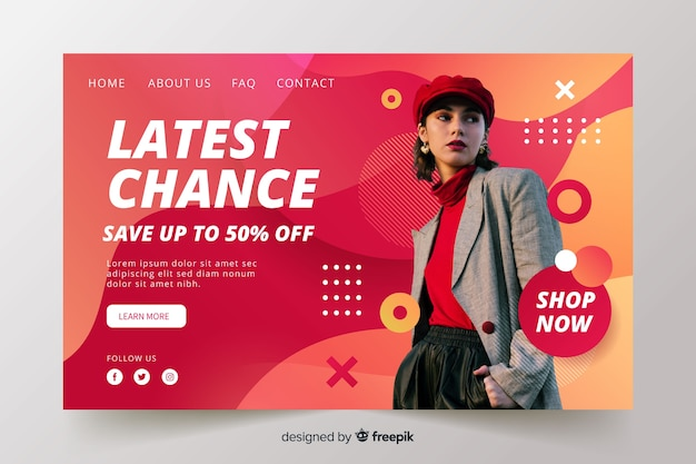 Abstract sales landing page with image Free Vector