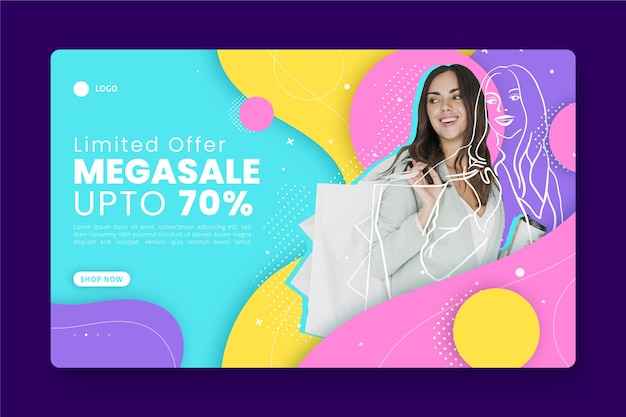 Abstract sales landing page with photo Free Vector