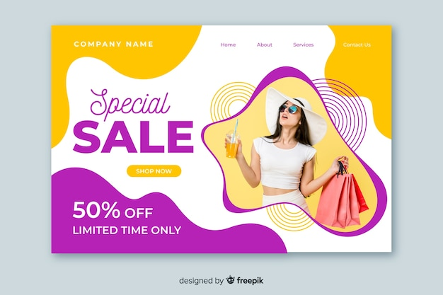 Abstract sales landing page with picture Free Vector