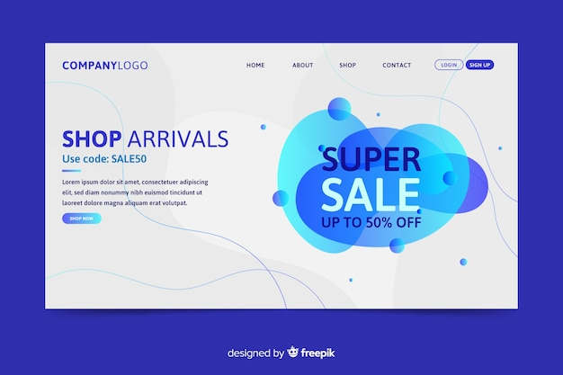 Abstract sales landing page Free Vector
