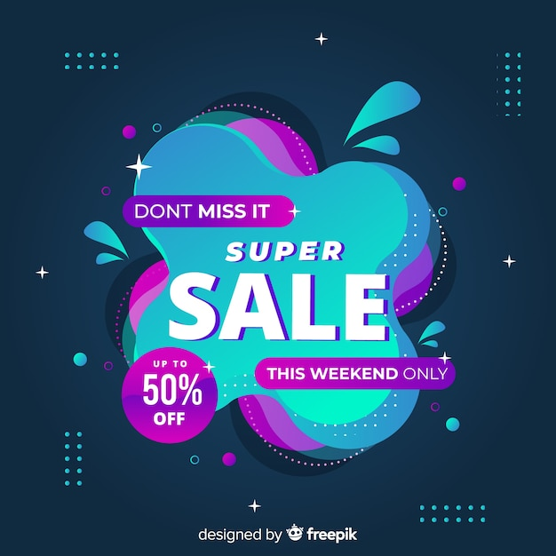 Abstract sales promotion landing page Free Vector