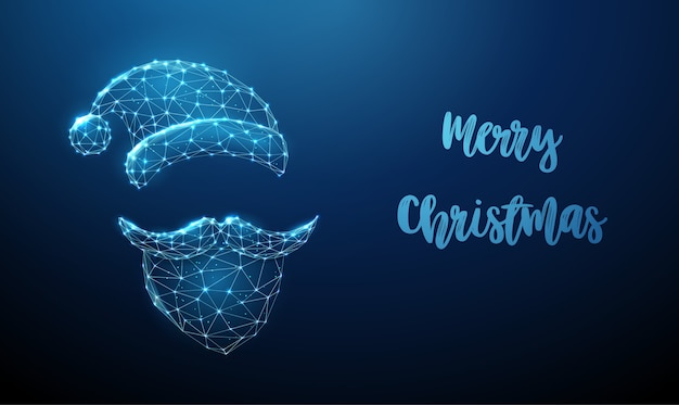 추상 산타 클로스는 수염, 콧수염 및 모자를 착용합니다. 낮은 폴리 스타일 디자인. 메리 크리스마스 카드. 현대 3d 그래픽 기하학적 배경입니다. 와이어 프레임 라이트 연결 구조. 프리미엄 벡터