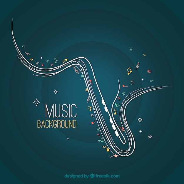 Abstract saxophone background Free Vector