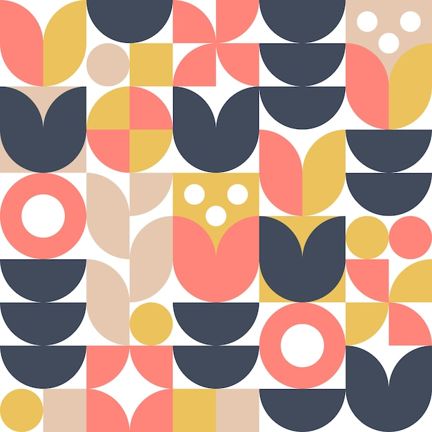 Abstract scandinavian flower background or seamless pattern. modern geometric design in retro nordic style. Premium Vector