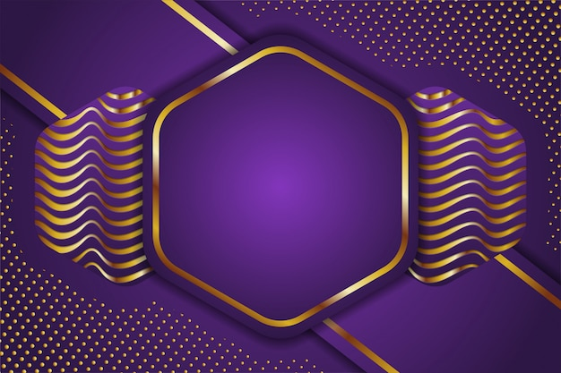 Abstract science . gold and purple hexagon geometric. science innovation  abstract background. wave and dot pattern. Premium Vector