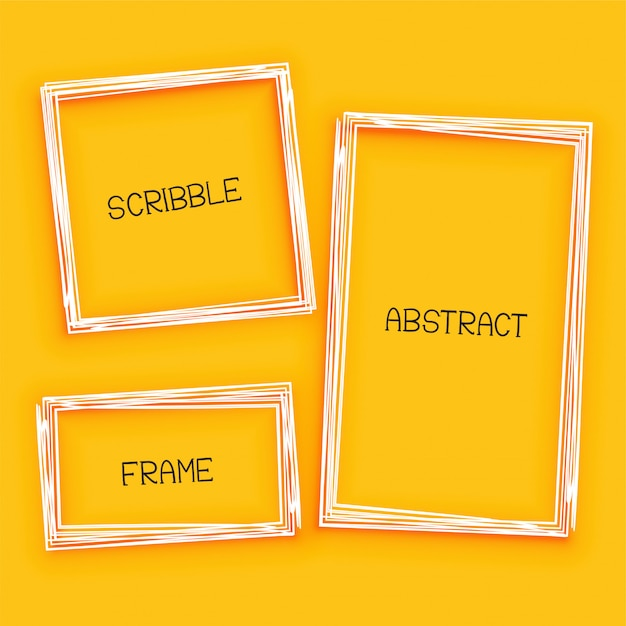 abstract scribble frame on yellow background Free Vector