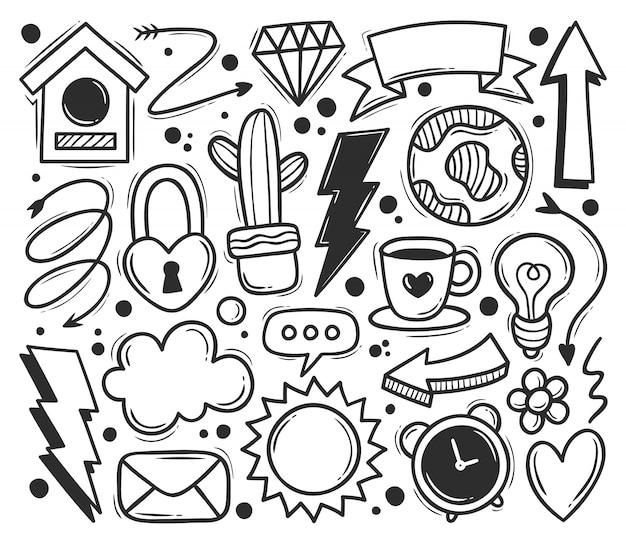 Абстрактные каракули иконы рисованной каракули раскраски Бесплатные векторы