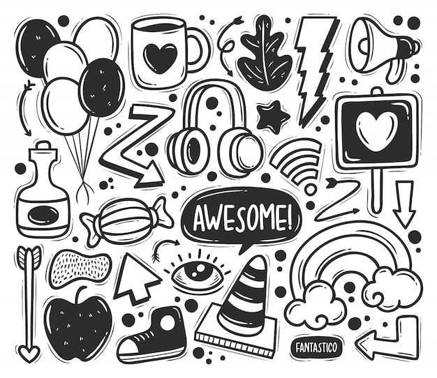 Abstract scribble icons hand drawn doodle coloring Free Vector