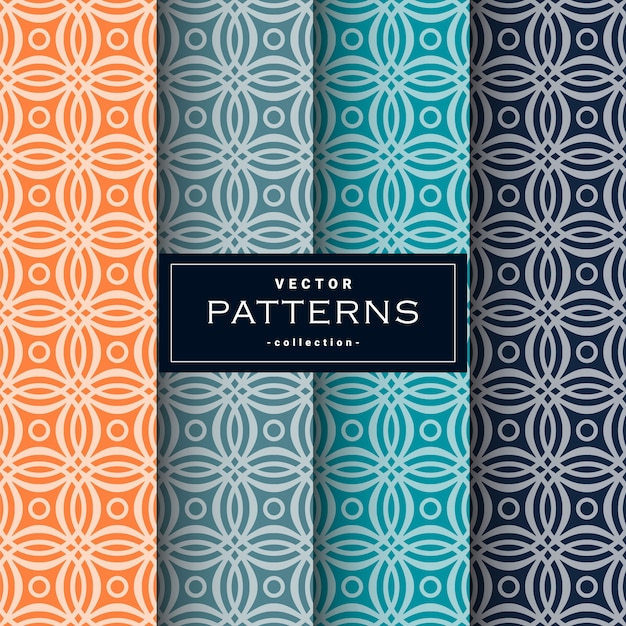Abstract seamless geometric patterns set Premium Vector