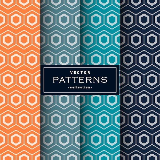 Abstract seamless geometric patterns set Premium Vector