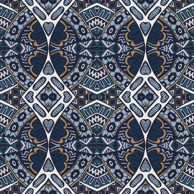Абстрактный бесшовные декоративный синий арабески медальон дамасской узор Premium векторы