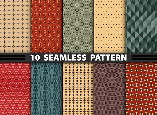 Abstract seamless pattern set Premium Vector