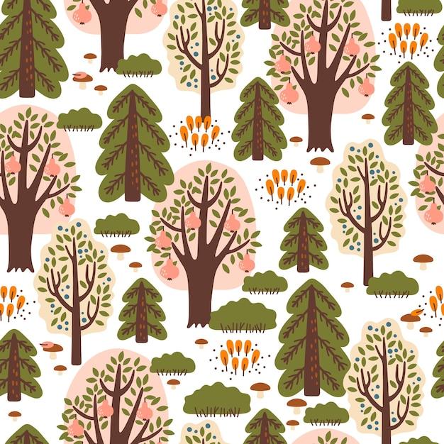 秋の森と抽象的なシームレスパターン。布、テキスタイル、包装紙に最適 Premiumベクター