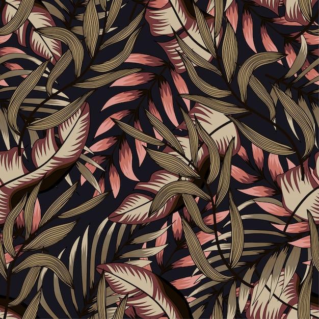 Абстрактный бесшовные модели с разноцветными тропическими листьями и растениями на темном фоне Premium векторы
