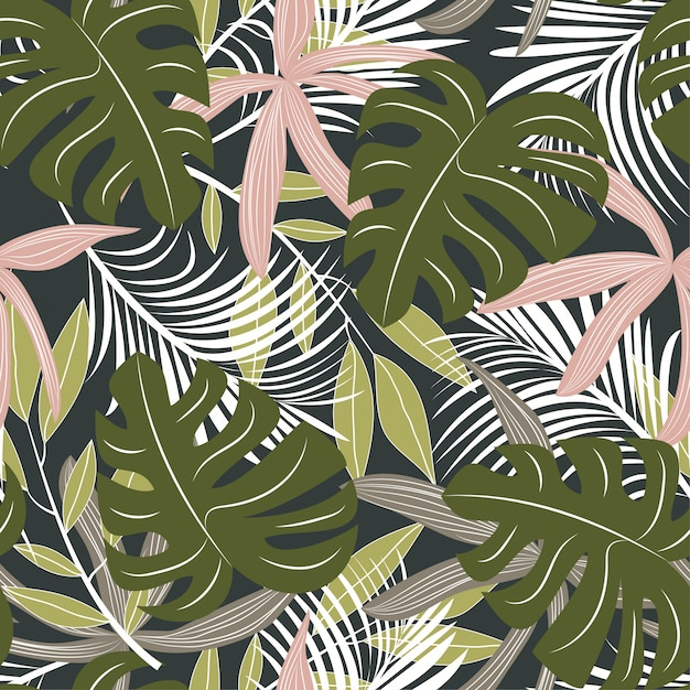Abstract seamless pattern with colorful tropical leaves and plants on dark background Premium Vector