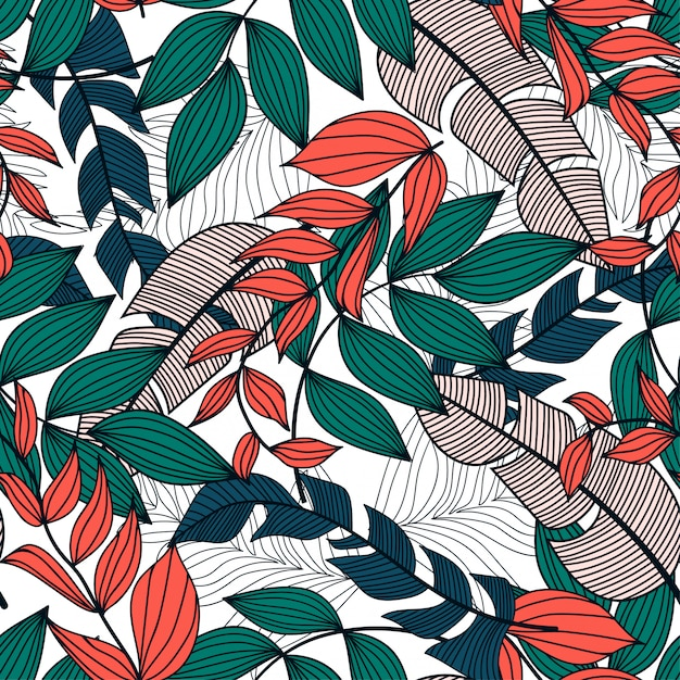Premium Vector Abstract Seamless Pattern With Colorful Tropical Leaves And Plants On A Light Background We hope you enjoy our rising collection of aesthetic wallpaper. https www freepik com profile preagreement getstarted 5357124