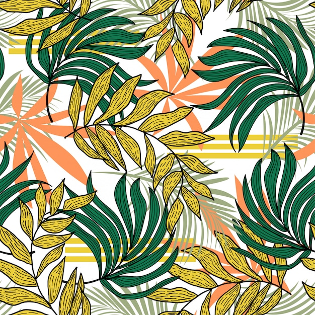 Abstract seamless pattern with colorful tropical leaves and plants Premium Vector
